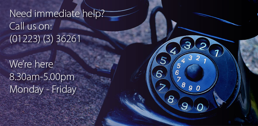 Photo of a telephone. Call 01223 36261 for IT Support, use option 2 for priority AV support
